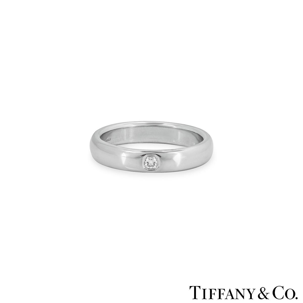 Tiffany Co Platinum Lucida 2mm Wedding Band Ring Sz 8: Tiffany & Co Lucida Diamond Wedding Ring In Platinum